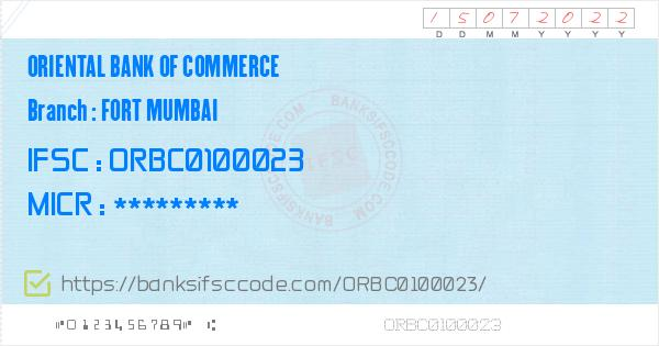 Oriental Bank of Commerce Fort Mumbai Branch IFSC Code