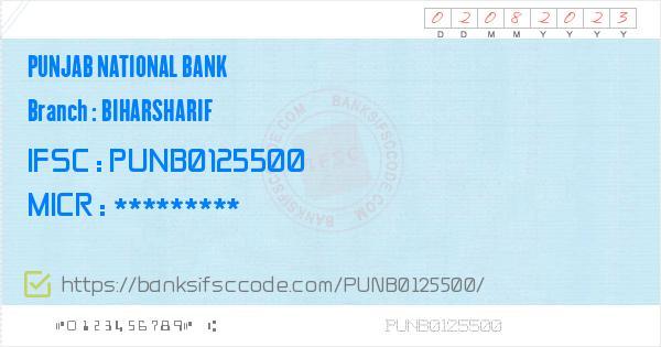 Punjab National Bank Biharsharif Branch IFSC Code - Nalanda
