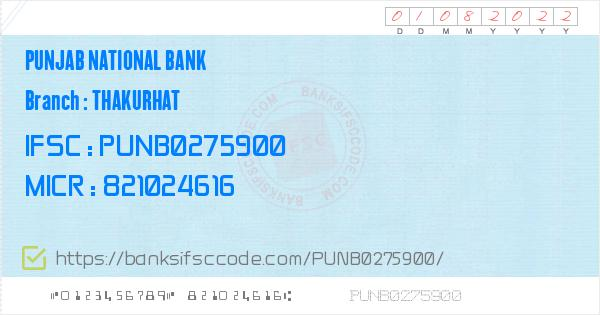 Punjab National Bank Thakurhat Branch IFSC Code - Kaimur, PNB