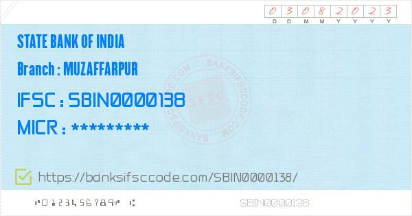 State Bank of India Muzaffarpur Branch IFSC Code