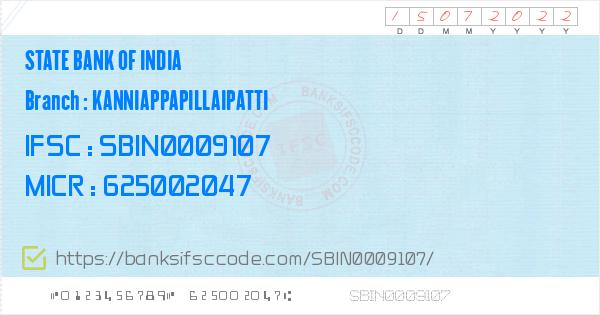 State Bank of India Kanniappapillaipatti Branch IFSC Code - Theni