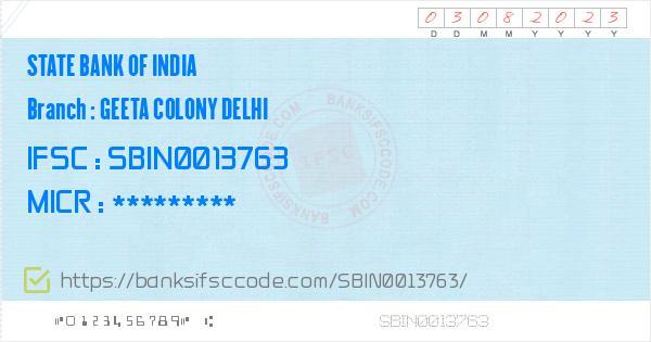 State Bank of India Geeta Colony Delhi Branch IFSC Code - Delhi, SBI