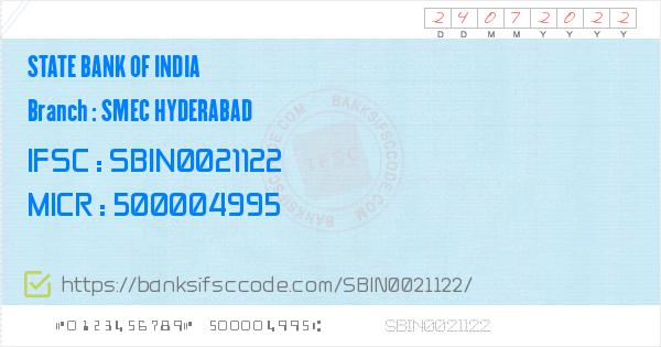 State Bank of India Smec Hyderabad Branch IFSC Code