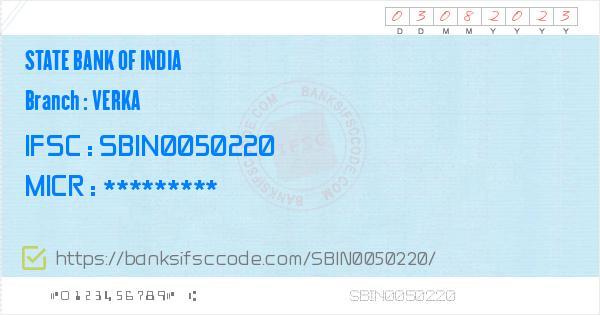 State Bank of India Verka Branch IFSC Code - Amritsar, SBI