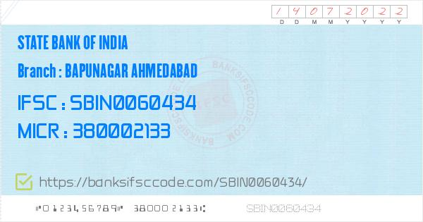 bank of india ifsc code ahmedabad bapunagar