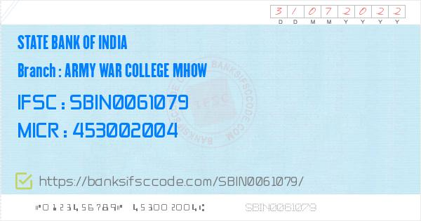 State Bank of India Army War College Mhow Branch IFSC Code