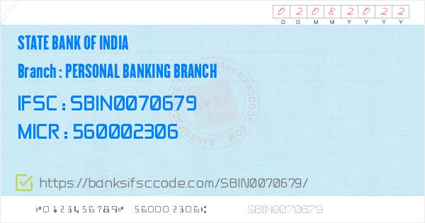 sbi specialized personal banking branch bangalore