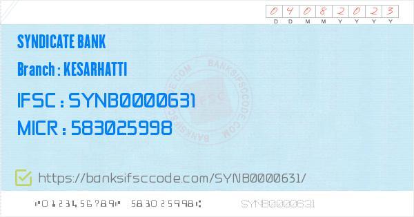 Ifsc Code Of Syndicate Bank Kesarhatti Branch Koppal Contact