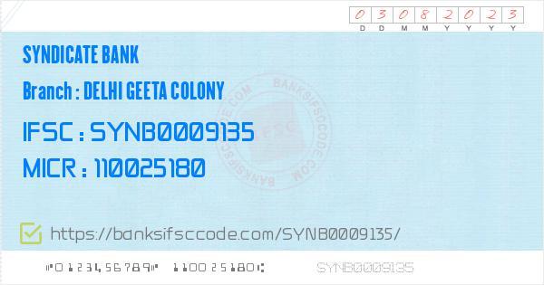 Syndicate Bank Delhi Geeta Colony Branch IFSC Code - New