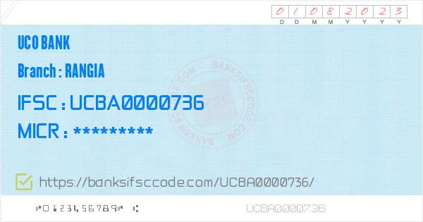 Uco Bank Rangia Branch IFSC Code - Kamrup  Contact Phone