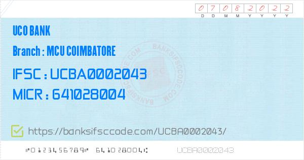 Uco Bank Mcu Coimbatore Branch IFSC Code - Coimbotore  Contact Phone