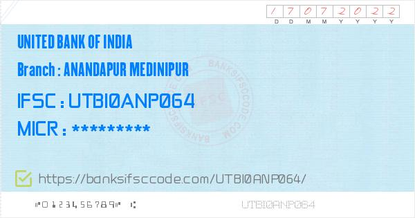 United Bank of India Anandapur Medinipur Branch IFSC Code