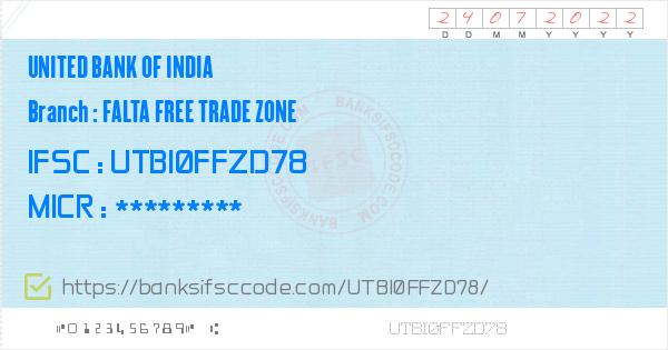 United Bank of India Falta Free Trade Zone Branch IFSC Code