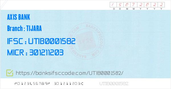 Axis Bank Tijara Branch IFSC Code - Alwar  Contact Phone