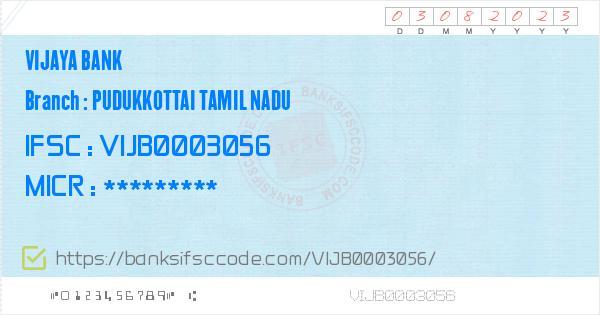 Vijaya Bank Pudukkottai Tamil Nadu Branch IFSC Code
