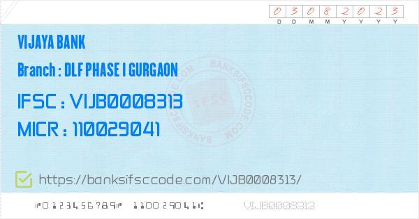 Vijaya Bank Dlf Phase I Gurgaon Branch IFSC Code - Gurgaon  Contact