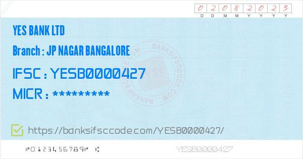 yes bank swift code bangalore ka