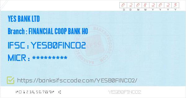 Yes Bank Ltd Financial Coop Bank Ho Branch IFSC Code - Surat